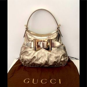 Authentic Gucci Leather Gold 💛 Large Hobo Purse